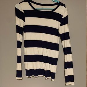 Navy and white striped long sleeve